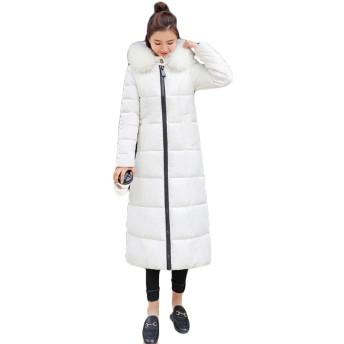 [ユリカー] コート ロング レディース ダウンコート ダウンジャケット 中綿 厚手 防寒 通勤 通学 ゆったり 着痩せ おしゃれ あったか ファスナー 大きいサイズ ホワイトXL