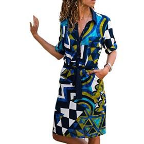 レディース ドレス ワンピース チュニック セクシーランジェリー 女性 幾何 プリントされた vネック ボタン ダウン ポケット ゆとり ゆったりしている のんびりと楽にする Tシャツ ドレス