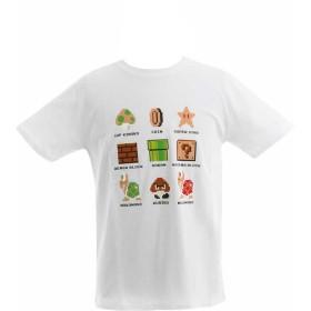 (スーパーマリオ)SUPER MARIO 大人メンズ レディース 半袖Tシャツ【22803459】 M ホワイト