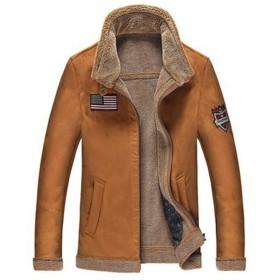 SemiAugust(セミオーガスト)メンズ レザージャケット ムートンコート ミリタリー 裏起毛 ジャケット 防寒 暖かい 秋冬 ジャンパー アウター フライトジャケット (コーヒー1 L)
