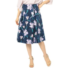 (ノーリーズ) NOLLEY'S グログランフラワープリントスカート 9-0035-1-06-009 36 ネイビー系3