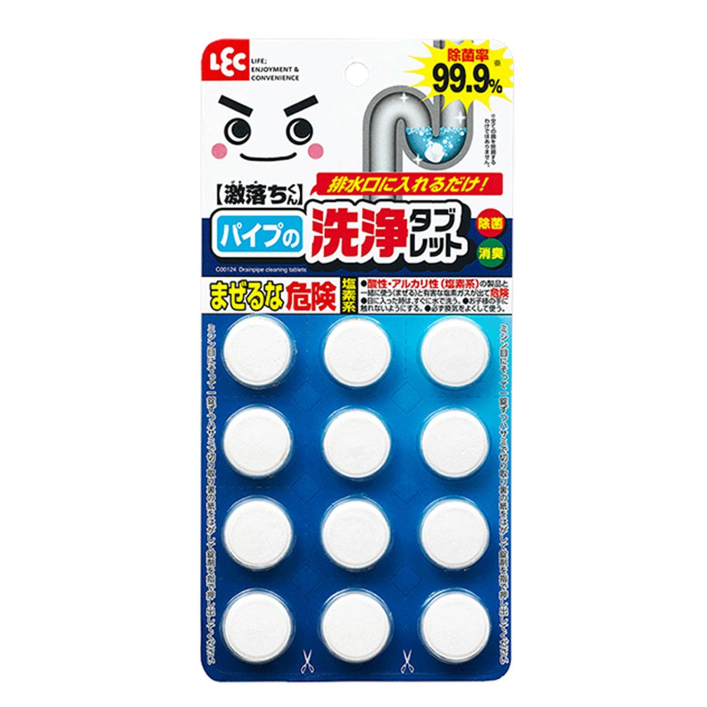 日本 LEC - 激落排水孔水管用發泡清潔錠-12錠