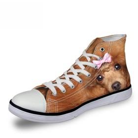 [FOR U DESIGNS]個性的なデザイン キャンバス スニーカー レースアップ シューズ canvas shoes ハイカット メンズ レディース プードル