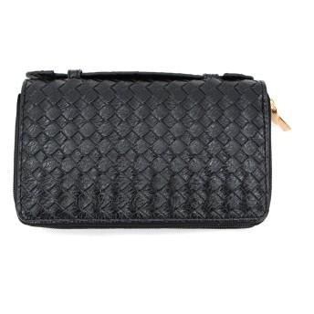 Lulu&berry 長財布 レディース 財布 ダブルファスナー 大容量 持ち手付き Eメッシュ/ブラック