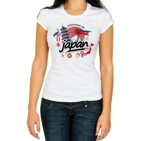 Welcome to Japan Woman White 3/4 Short Sleeve Cotton T Shirt (M)