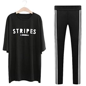 レディース 五分袖 七分袖 Tシャツ+レギンスのセット セットアップ トップス スパッツ スポーツウェア ルームウェア ブラック ホワイト L LL 3L 4L 5L 大きいサイズ (4L, 黒)