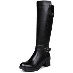 [シュウカ] ロングブーツ ブーツ レディース 本革 ロング エンジニアブーツ ジョッキーブーツ ロングブーツ黒 大きいサイズ 歩きやすい 疲れにくい 黒 太ヒール ローヒール 美脚 23.5cm サイドジッパー