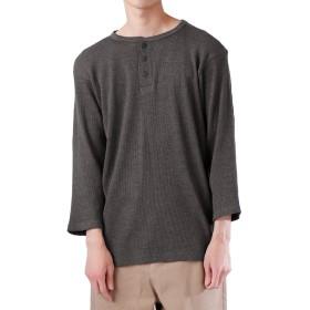 (モノマート) MONO-MART ロング丈 ワッフル カットソー ヘムライン Tシャツ 7分袖 ゆるシルエット MODE メンズ 杢チャコール XLサイズ