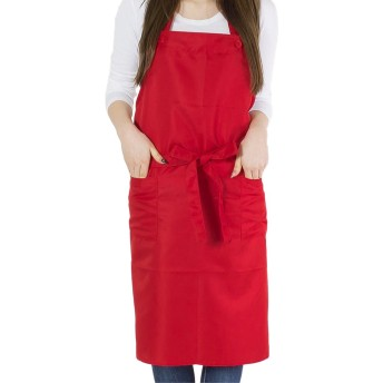 シンプルエプロン 男女兼用 フリーサイズ 04.レッド ckw-0003-f-red01