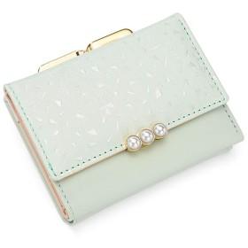 [QIFENGDIANZI]三つ折り財布 レディース 花柄 かわいい ミニ財布 がま口 大容量 小銭入れ カードケース 携帯便利 女性用 プレゼント おしゃれ 小型 軽量 仕切り 10.8  8  2.5CM グリーン