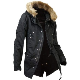 SaganStyle(サガンスタイル)モッズコート メンズ コート ファー付 ミリタリー 裏ボア A251025-01 ブラック LL or1