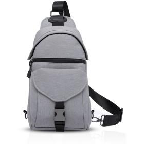 FANDARE 新しいファッション斜めがけバッグアウトドアカジュアル旅行ボディバッグイヤホン通し穴をプラスワンショルダーバッグサイクリングメンズ軽量防水ポリエステル グレー