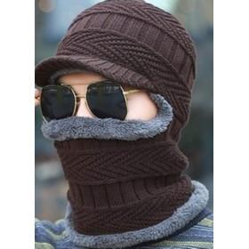 Hi9ニット帽子 メンズキャップ 冬 裏起毛帽 ニットキャップ ネックウォーマー 防寒 保温 スキー スポーツ アウトドア 裏起毛 暖か メンズ (ブラウン, フリーサイズ)
