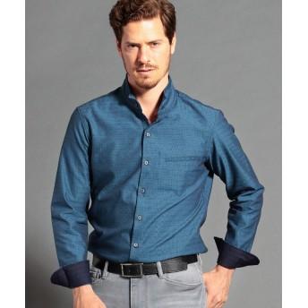 ムッシュニコル ドビー織り長袖スタンドカラーシャツ メンズ 60ブルー 50(LL) 【MONSIEUR NICOLE】