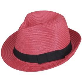 (ビグッド)Bigood 紳士ハット 麦わら帽子 ストローハット 中折れハット ポークパイ帽子 PP リボン飾り メンズ レディース兼用 日よけ レッド