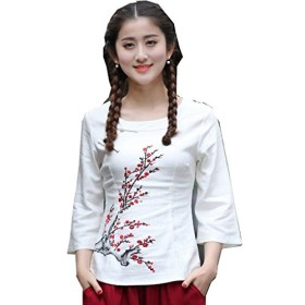 (上海物語)Shanghai Story 花柄 長袖 ラウンドネック ブラウス レディース チャイナ トップス 民族風 上着 女性用 3XL White