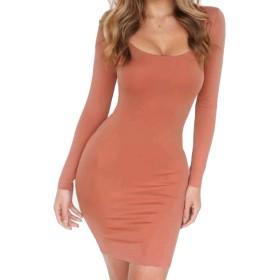 Nicellyer Women Elegant Square Collar Long Sleeve Fleece Short Dress Orange2 M