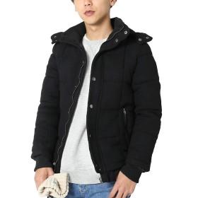 インプローブス ダウンジャケット メンズ メルトン ボリュームネック フードジャケット ウール ブラック XL サイズ