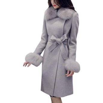 emelun レディース ファーコート ファースリーブ ベルト付き オーバーサイズ アウター コート