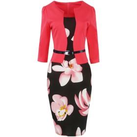 女性のパッチワークの花のビジネス党事務所ペンシルドレス Pink OX166-Pink-3XL