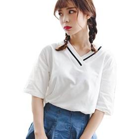 Gergeousレディース Tシャツ Vネック ゆったり 無地 シンプル 夏tシャツ トップス 夏物 おしゃれ 韓国ファッション 白Tシャツ(G白)
