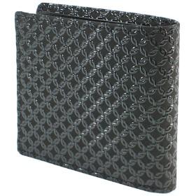 INDEN-YA 印傳屋 印伝 財布 二つ折り財布 メンズ 男性用 黒×黒 輪繋ぎ小 2009-01-177