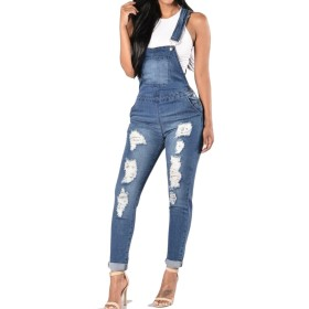 maweisong Women's Casual Adjustable Bib Denim Jeans Pants Overalls L Dark Blue