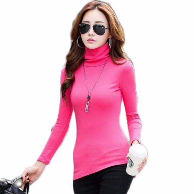 【ACE FACTORY】レディース トップス ハイネック タートルネック シャツ 韓国 おしゃれ 可愛い スリム インナー エコバッグ付き ピンク XL