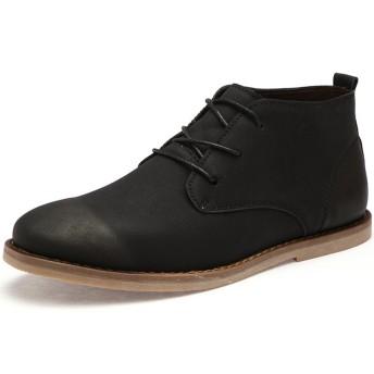 [フォクスセンス] 革靴 ビジネスシューズ 紳士靴 チェルシーブーツ ポインテッドトゥ メンズ 本革 滑り止め 耐摩耗 柔らかい ブラック 25.0cm K0605