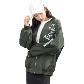 Alhyla レディース ジャケット ファッション 韓国風 レディース 春 夏 秋服 コート おしゃれ アウター ジャンパー トップス レディース MA-1 パーカー 長袖 薄手 無地 シングル ブルゾンモスグリーンbs2
