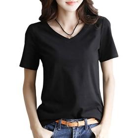 半袖 Tシャツ レディース トップス 無地 Vネック きれいめ シンプル カットソー S~XL (黒・白・黄色)(アブロンダ)ABRONDA