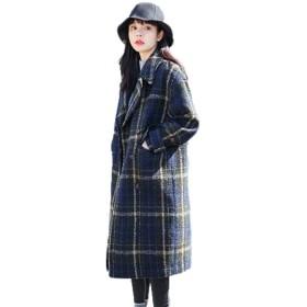 GuDeKe チェック柄 ラシャコート レディース ロング チェスターコート 冬 厚手 防寒ジャケット 大きいサイズ 暖かい 着痩せ ゆったり 長袖 防風 アウター 上品 ブルーL