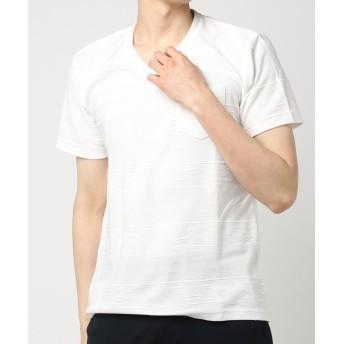 (エーエスエム) A.S.M メンズ Tシャツ 半袖 ジャガードタックボーダーTシャツ 02-66-9402 48(M) オフ(02)
