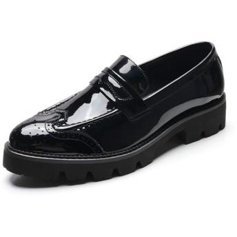 [ジョイジョイ] 革靴 エナメルシューズ ローファー メンズ ビジネスシューズ モカシン 厚底靴 ウィングチップ オシャレ 秋冬 履きやすい カジュアル パーティー 学生 通学 防滑 防水 レディース かわいい ブラック/ホワイト
