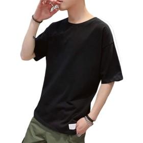 半袖 トップス オシャレ シンプル カジュアル スリム 黒 M