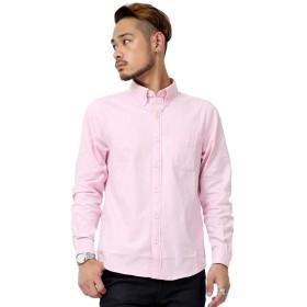 [アビト] シャツ 長袖シャツ カジュアル オックスフォード 無地 メンズ ピンク L サイズ