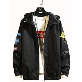 (ハバー)Habor ウインドブレーカー ジャンパー メンズ ジャケット ブルゾン 裏地付き 軽量 防風 スポーツ カジュアル 刺繍ワッペン XL