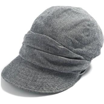 クイーンヘッド UVカット 帽子 シャイニングキャスケット レディース 大きいサイズ つば広 小顔 ハット 日よけ 紫外線カット【XLサイズ(61cm)-チャコール】