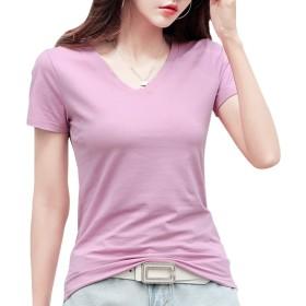 [ジンジンW] カジュアルTシャツ スポッツランニングウェア 吸湿 快適 フィットコットンTシャツ Vネック クールネック2タイプ [ピンク]M