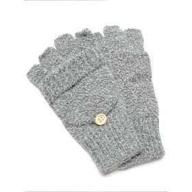 [REPIDO (リピード)] 手袋 指なし スマホ対応 ユニセックス ニット 5本指 グローブ ミトン 2way フラップ ライトグレー Free