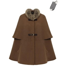 AIKOSHA キャメル L レディース コート & 靴下 のセット商品 アウター ケープ ポンチョ ウール マント ロング ラクーンファー セレブ