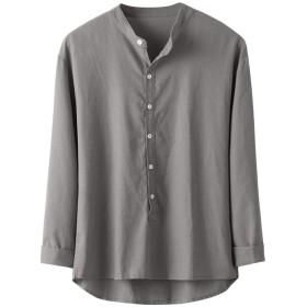 リネンTシャツ 男性 Florrita メンズ Tシャツ Vネック 半袖 夏服 麻 スウェット 無地 カジュアル シャツ リネン 涼しい 盛夏