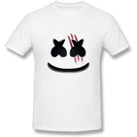Tシャツ メンズ 半袖 プリント マシュメロ ネオン Marshmello DJ 音楽 ドライ素材 吸水速乾 無地 おしゃれ シンプル 通勤 通学 運動 日常用