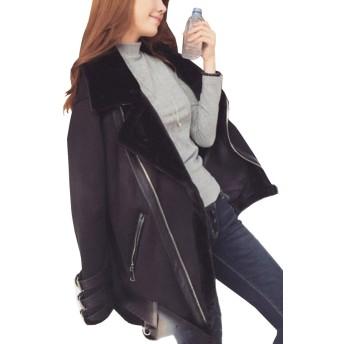 Heaven Days(ヘブンデイズ)ムートン調ジャケット ライダースジャケット オーバーサイズ 裏ボア フロントジッパー 裾ベルト レディース 1802N0006