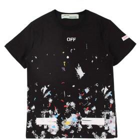 off white, (オフホワイト) Tシャツ 夏服 半袖 メンズ ゆったり 軽量 吸汗速乾 (ブラック, L)