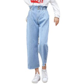 YUNHENデニムパンツ レディース ジーンズ ロングパンツ ウエストゴム ストレートパンツ 着痩せ 韓国ファッション ワイドパンツ ゆったり 春物 無地(15ライトブルー)