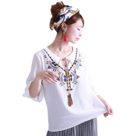 [ゴールドジャパン] 大きいサイズ レディース タッセル 付き 刺繍 ブラウス シャツ ブラウス 5分袖 nh20180442 5L ホワイト