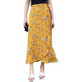 syvent レディース ロング 花柄 スカート 巻きスカート aライン 夏 シフォン ふわふわ キルテ 長い ラップスカート