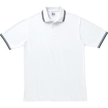 [プリントスター] 半袖 5.8オンス TC 鹿の子 ベーシック ライン ポロシャツ 00191-BLP メンズ ホワイト×ネイビー 4L (日本サイズ4L相当)