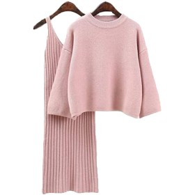 (ジュンィ) レディース ニット セーター セット 秋冬 ニット スカート セーター 長袖 セットアップ ゆったりピンク